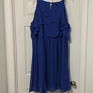 Purple Cold Shoulder Flowy Dress